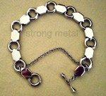 Bijou fantaisie. Bracelet marine. Anneaux et plaques en acier inoxydable avec chaîne de sécurité.  dans BRACELET ACIER 316L bracelet-acier-291-150x136